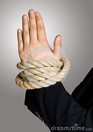 Business hands in chain, bond with rope