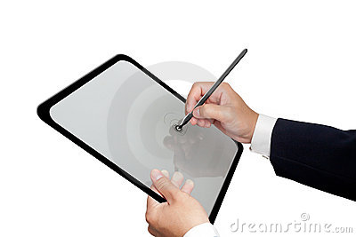 Business Hands creating on Tablet
