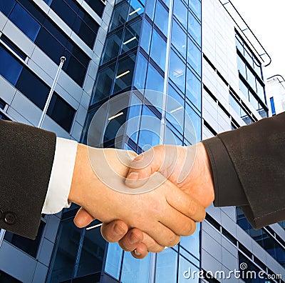 A business handshake.