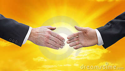 Business Handshake Hands Sky Sun