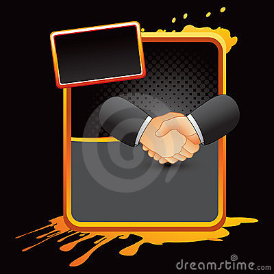 Business handshake on orange splattered banner