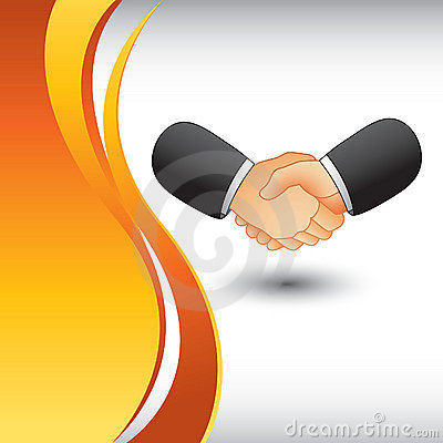 Business handshake on vertical wave backdrop