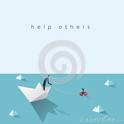 Free Business Help Vector Concept. Bankruptcy, Government Bailout Symbol With Businessman On Paper Boat And Drowning Man In Stock Photos - 99674823