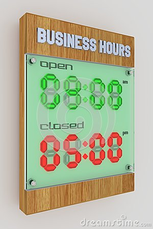 Business Hours - Digital LED Light 12hr (am-pm)