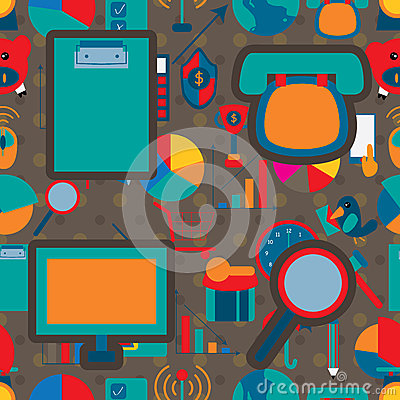 Business Icon 2 Seamless Pattern Company Vector Illustration