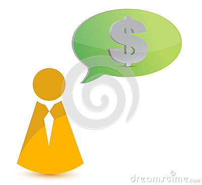Business icon thinking in money
