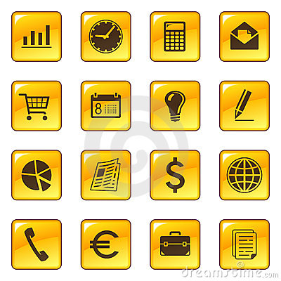 Business icons on web buttons
