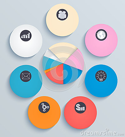 Business infographics, circles with flat icons