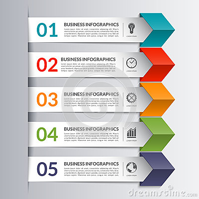 Free Business Infographics Design Paper Arrow Template Stock Photos - 63432553