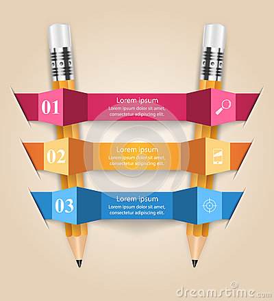 Business Infographics origami style Vector illustration. Pencil Vector Illustration