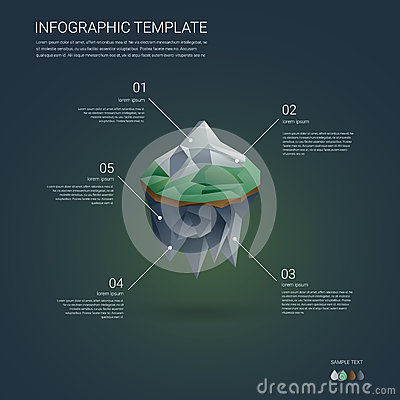 business infographics template. low poly floating island with, Low Poly Business Presentation Template, Presentation templates