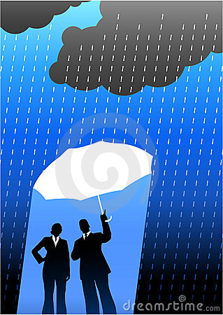 Business insurance background with two people