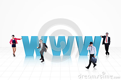 Business internet people in blue