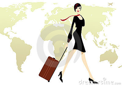 Business Lady in black with a luggage travel