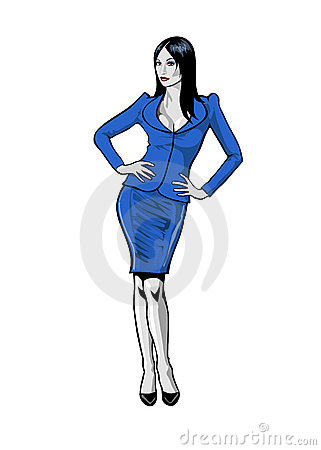 Business lady in blue suit
