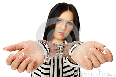Business lady in handcuffs