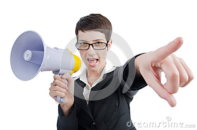 Business lady screaming to loudspeaker