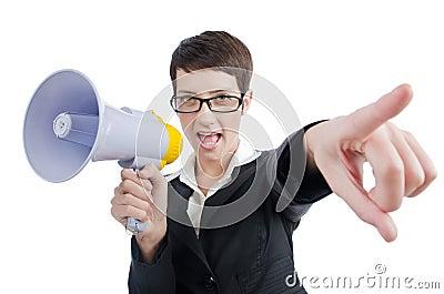 Business lady screaming to loudspeaker