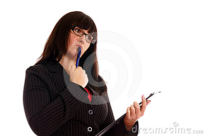 Business Lady with with writing pad