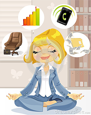 Business ladyin meditation to achieve success