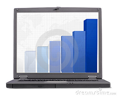 Business laptop - with column graph