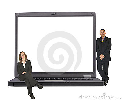 Business laptop with executive couple on it