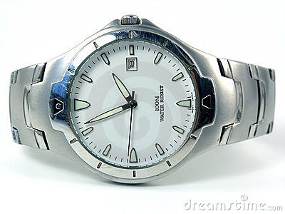 Business laying silver watch