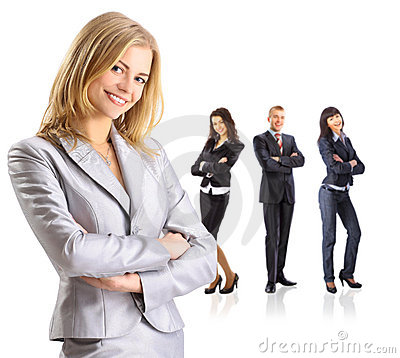 Business leader standing in front of her team