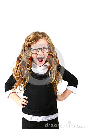 Business little girl in glasses on a white background shouting