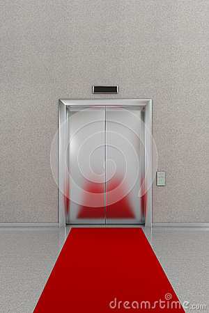 Closed elevator with red carpet