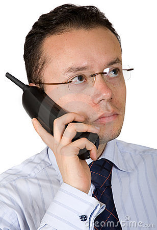 Business man on an analogue phone