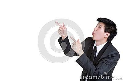 Business man Attractive smart Point suit