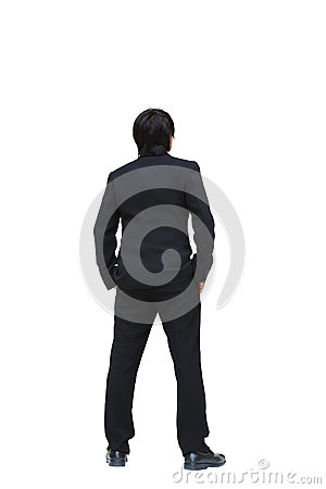 Business man from the back looking at something