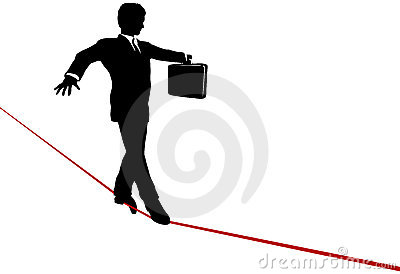 Business Man Balance Act on Risk Tightrope