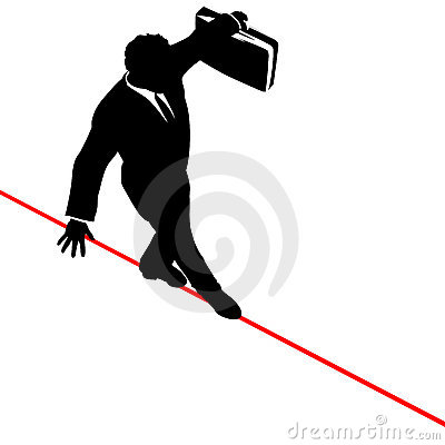 Business Man Balance Risk Tightrope from Above