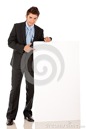 Business man with banner