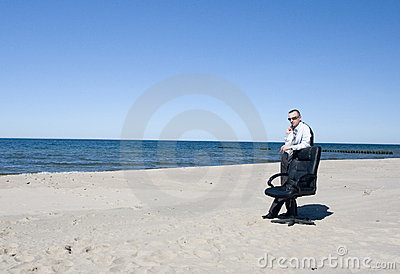 Business Man on Beach
