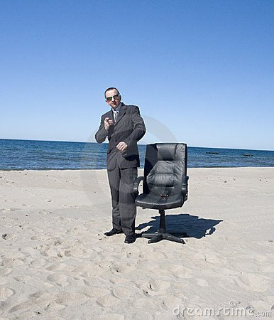 Business Man On Beach