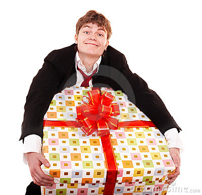 Business man with big gift box.