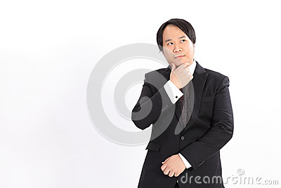 business man in black suit thinking something