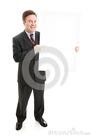 Business Man with Blank Sign - Full Body