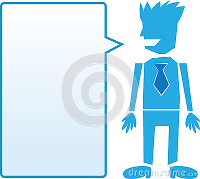 Business man with blue speech bubble