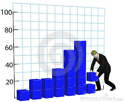 Business man builds growth chart graph