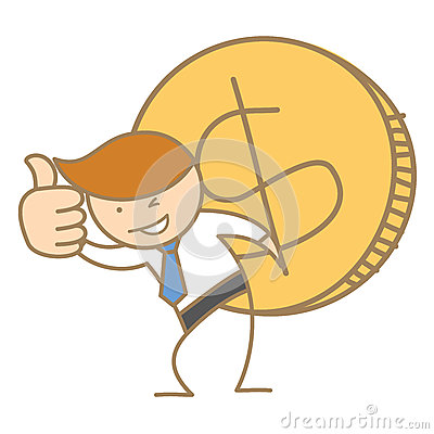 Business man carrying big dollar coin