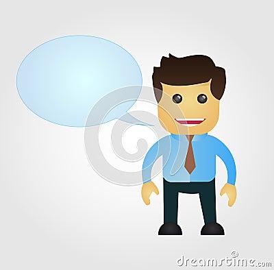 Business man cartoon with speech balloon