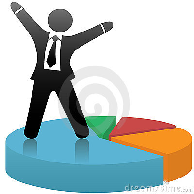 Free Business Man Celebrates Market Success Pie Chart Royalty Free Stock Photos - 6014178