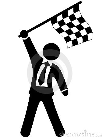 Business man celebrates victory checkered flag