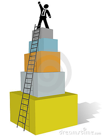 Free Business Man Climb To Success Ladder Top Stock Photography - 14339152