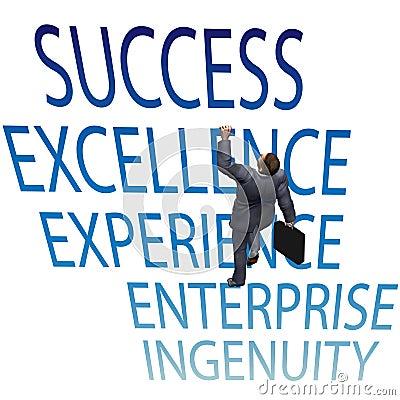 Business man climb up 3D success words