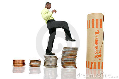 Business Man Climbing Coin Stacks